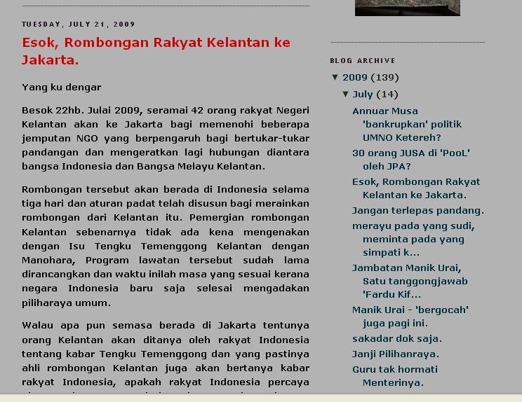 Kutipan dari Blog Soberi, dari Kerajaan Kelantan