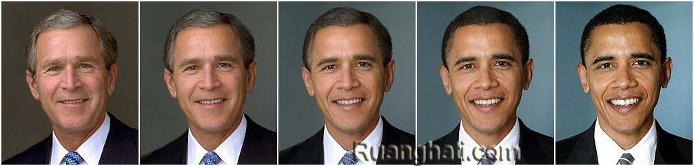 Bagaimana Mantan Presiden Amerika George Walker Bush Bertransformasi Menjadi Presiden Amerika Saat ini Barrack Hussein Obama, Inilah Prosesnya (klik gambar untuk memperbesar)
