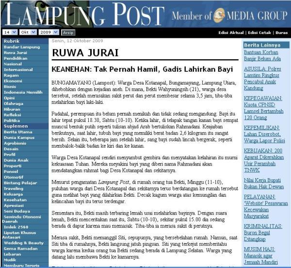 Berita yang sama di Lampung Post