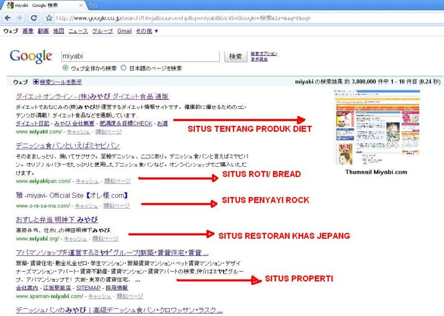 Pencarian Kata Kunci Miyabi di Google Web Jepang