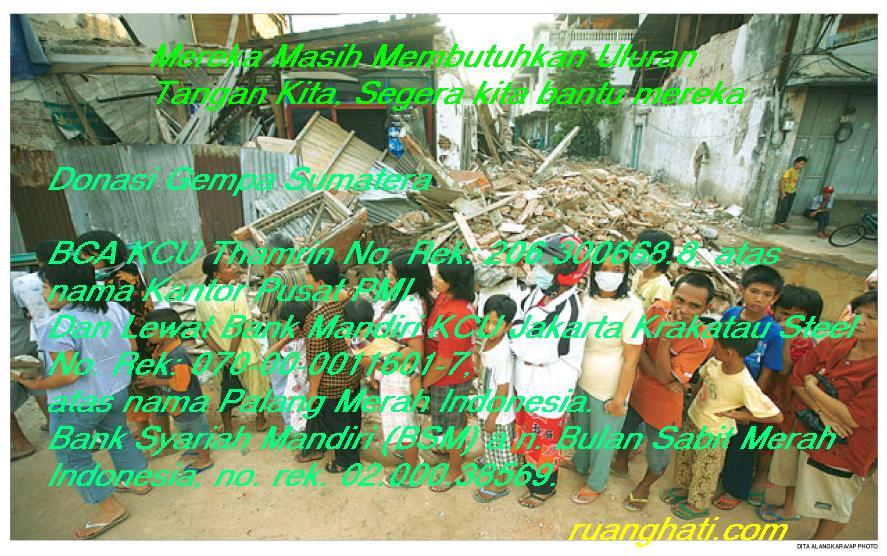 Gempa Padang, No Rekening Bantuan