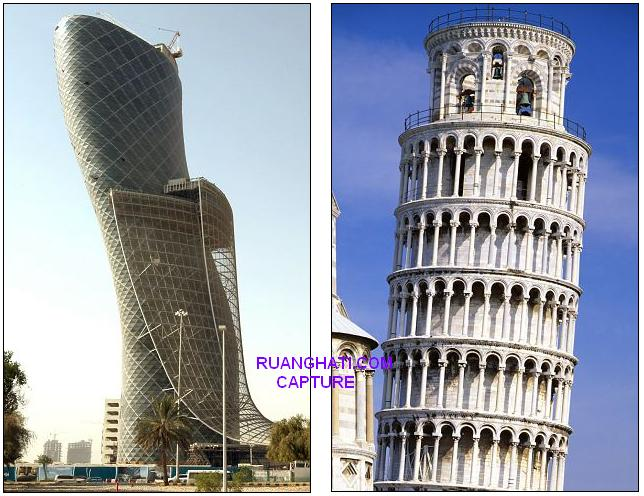 Perbandingan Capital Tower dan Menara Miring Pisa